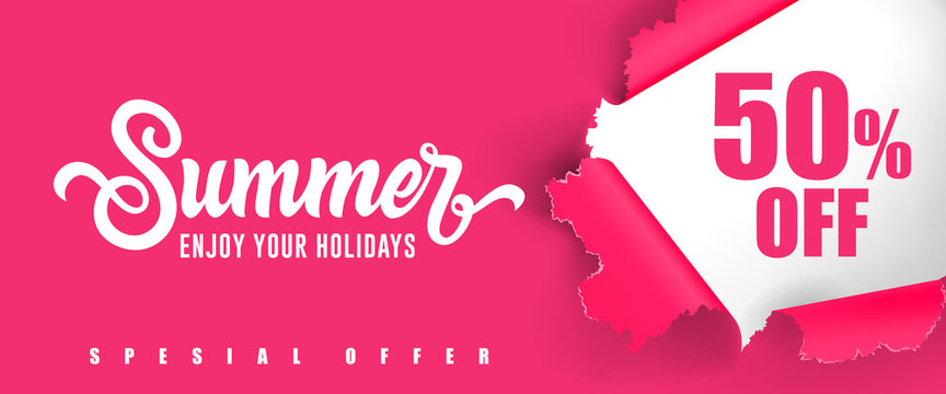 Summer Enjoy your holidays Fifty percent off lettering. Creative inscription with swirl elements on pink background. Handwritten text, calligraphy. Can be used for greeting cards, posters and leaflets