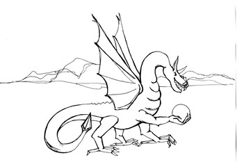 Outline drawing of a dragon