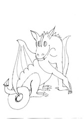 Outline drawing of a winged  dragon