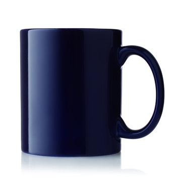 Side view of blue coffee mug