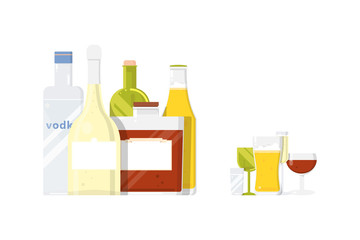 Five alcohol drink bottles with glasses for restaurant or pub.