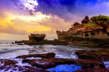 Tanah Lot water temple in Bali. Indonesia nature landscape. Famous Bali landmark