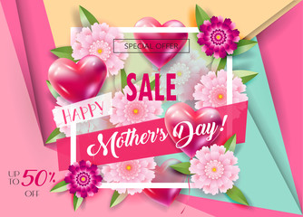 Sale banner for Mother's Day, Women's Day, Valentine's Day, Anniversary, Wedding day gift card, invitation decorative balloons hearts, floral pink elements, vector paper cut flowers