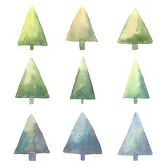 Hand drawn watercolor trees isolated