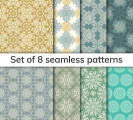 Set of 8 patterns. Collection arabic, indian, japanese, islamic motifs. Mandala seamless pattern.