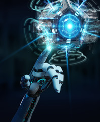 White humanoid hand using drone security camera 3D rendering