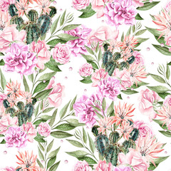 Beautiful Waterolor pattern with cactus and roses .