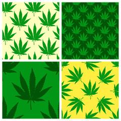 Hand drawn marijuana leaves seamless patterns set