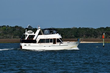 Luxury yacht cruising on the river at Florida, USA