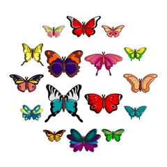 Butterfly collection icons set. Cartoon illustration of 16 butterfly collection vector icons for web