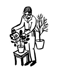 Печатьpicture drawing of an elderly man with glasses watering flowers in pots from a garden watering can, caring for home and garden plants, sketch, hand-drawn graphic ink vector illustration