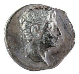 Octavian Augustus. Roman Republic Coin. Ancient Roman silver denarius of the family Julia. Coined in Colonia Patricia current Cordoba. Obverse.