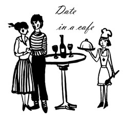 drawing picture of a young man and a girl dancing in a cafe on appointment, and the waitress-cook in a cap gives them dinner, sketch, hand-drawn ink, graphic vector illustration