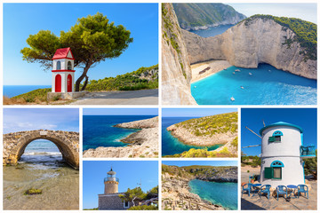 Collage of images from Zakynthos island. Greece