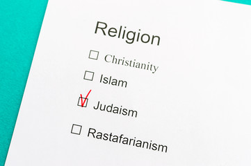 Questionnaire with questions about religion. concept judaism