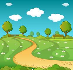 Landscape concept. Cartoon illustration of landscape vector concept for web