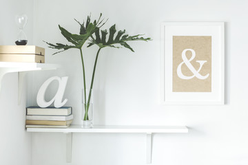 Stylish scandi interior with white shelf , mock up frame, books, boxes, hourglass and leafs. Modern room with white walls.