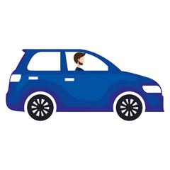car sedan with man driving vector illustration design