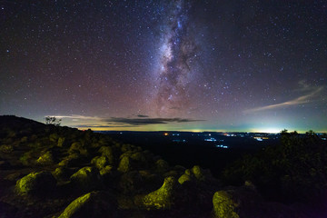 Landscape milky way galaxy with cloud and space dust in the universe, Long exposure photograph, with grain.