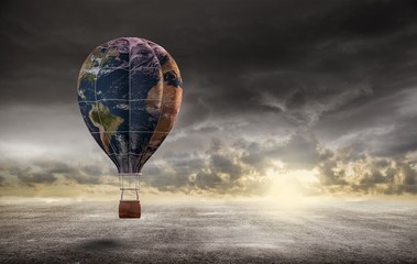 globe hot air balloon ,Earth day concept,3d render.Elements of this image furnished by NASA