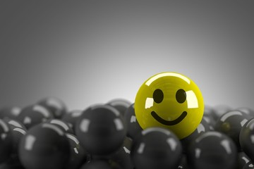 Smiley Face Standing Out in Crowd,3d render