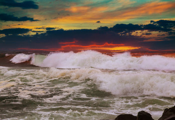 Panorama of beautiful sunset on the ocean.