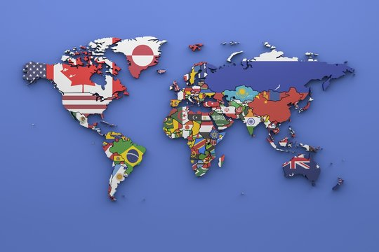 World map with all states and their flags,3d render