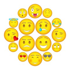 Smiles icons set. Cartoon illustration of 16 smiles vector icons for web