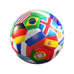 soccer ball with flags 3d rendering