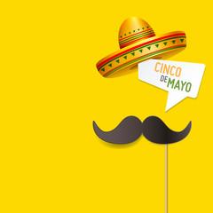 Simple Cinco De Mayo design concept vector. Moustache on a stick with a speech bubble Cinco De Mayo with sombrero. Cinco De Mayo design with open space for your text.