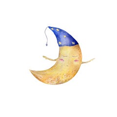 Moon watercolor clip art yellow moon funny character fly moon painting illustration half moon sleeping moon in hat geometric on white background