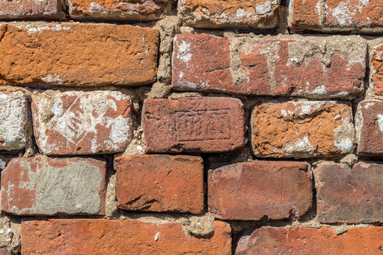Old red brick. 19th century