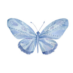 Watercolor Butterfly. Butterfly Aquarelle Aquarelle Butterfly painting clip art beautiful character blue butterfly geometric illustration on white background