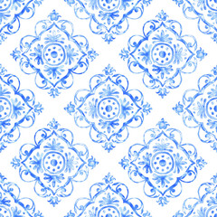 Hand drawn watercolor ornament, blue seamless pattern, vintage repeating background. Art wallpaper illustration.