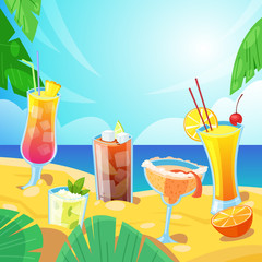 Beach bar concept. Tropical alcohol beverages on sand. Vector illustration. Mojito, tequila sunrise cocktails.