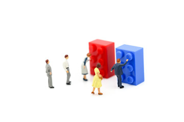 Miniature people : worker push button colorful kid toys.