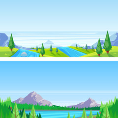 Garden Poster Light blue Seamless horizontal landscape background. Vector illustration of mountains, hills, meadows, lake and river.