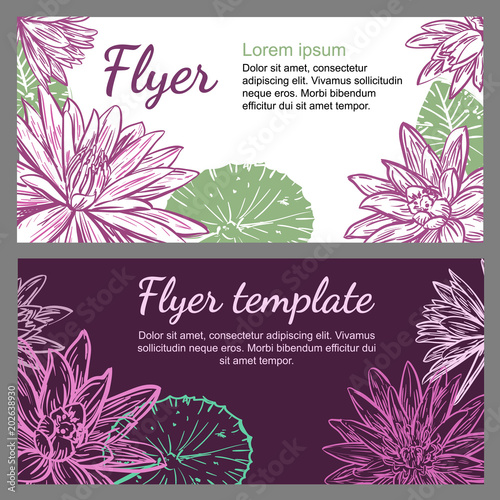 Vector leaflet template with lotuses or Nymphaea and space