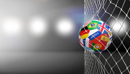 soccer goal soccer ball with flags in net 3d rendering