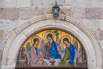 Religious mosaic in Dubrovnik Old Town