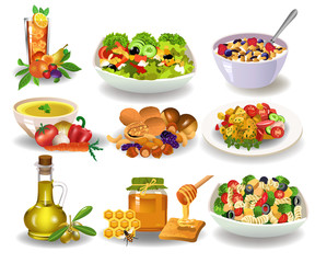 Different healthy meals for breakfast, lunch or dinner like salad, cereals, vegetable soup, nuts, honey isolated on a white background