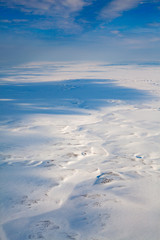 Top view of winter tundra