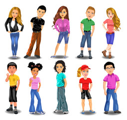 Vector illustration in a cartoon style of teenagers collection isolated on a white background