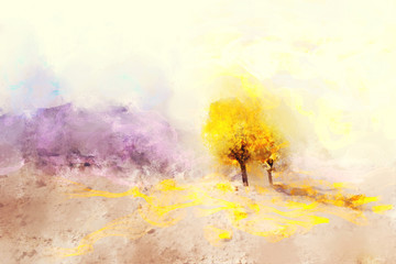 Trees in autumn with yellow leaves