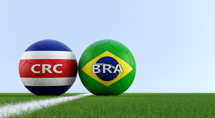 Costa Rica vs. Brazil Soccer Match - Soccer balls in Costa Rica and Brazil national colors on a soccer field. Copy space on the right side - 3D Rendering