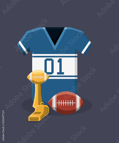 5fb2e2052 american football jersey and trophy over blue background