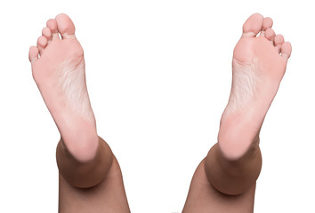 Left and right foot soles and calf, female feet, medical or massage concept