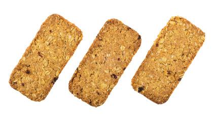 Three cookies-muesli isolated on white background