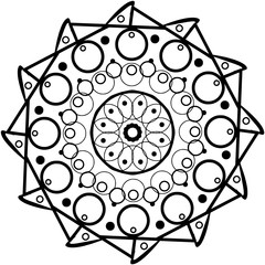 Digital computer graphic - contour drawing mandalas for coloring.