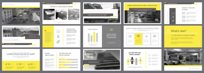 Yellow and black marketing or research concept infographics set